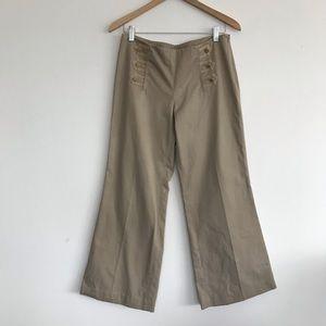 Tory Burch Wide Leg Khaki Trousers Pants Size 6